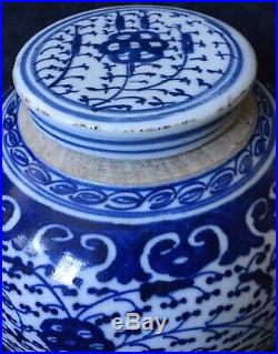 RARE Early 19th Century Antique Chinese Blue White Large Porcelain Ginger Jar