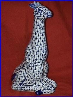 RARE Fishnet Blue & White Porcelain Giraffe HEREND STYLE Hand painted Large 13