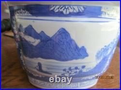 RARE! Vintage Chinoiserie Blue & White Porcelain Landscape Jardiniere Planter