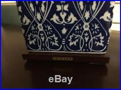 Ralph Lauren Blue White Heart Table Lamps Pair Porcelain NWT