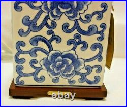 Ralph Lauren Blue on White Floral Porcelain Small Table Lamp & Shade New
