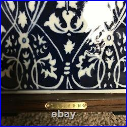 Ralph Lauren Dark Blue with White Floral Porcelain 17 Table Lamp & Shade New
