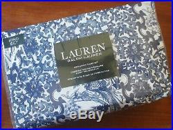 Ralph Lauren KING Duvet & Sham 3pc SET Blue & White Porcelain Floral Toile