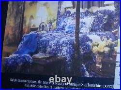 Ralph Lauren King Flat Sheets-blue Stripe-staffordshire Porcelain-men's Room