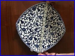 Ralph Lauren MANDARIN SQUARE Blue And White Porcelain Serving Bowl 12 inch