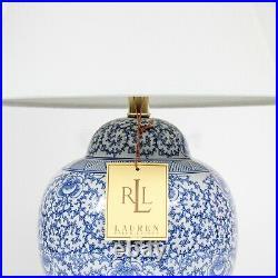 Ralph Lauren Mandarin Blue White Chinoiserie Floral Ginger Jar Table Lamp New