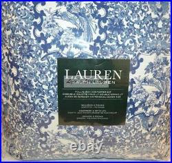 Ralph Lauren Porcelain Blue Tamarind Birds 3P Full Queen Comforter Set Shams New