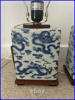 Ralph Lauren Porcelain Table Lamp Pair Chinese Dragon Brand New White And Blue