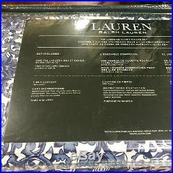 Ralph Lauren Porcelain Tamarind Bird Blue White F/Queen Duvet Set 3 New