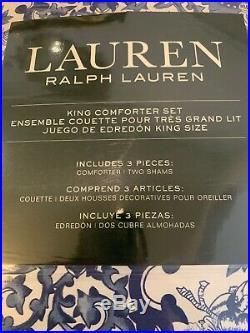 Ralph Lauren Porcelain Tamarind Bird Blue White King Comforter Shams Set 3 New