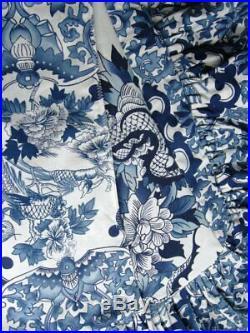 Ralph Lauren Porcelain Tamarind Bird Duvet King Blue White Ruffles on 4 sides Re