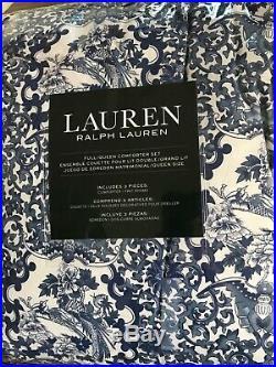 Ralph Lauren Porcelain Tamarind Blue White F/Queen Comforter Shams Set 3 New