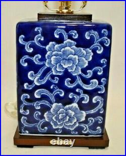 Ralph Lauren White on Dark Blue Floral Porcelain Small Table Lamp & Shade New