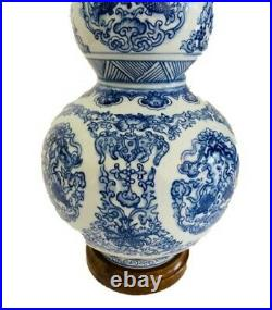 Ralph Lauren Zen Koi Fish Porcelain Ceramic Round Blue White Table Desk Lamp
