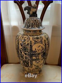 Rare Antique Blue White Lidded Delft Ginger Jar