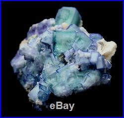 Rare! Cube Blue & White Porcelain Fluorite & Arsenopyrite & Calcite Specimen