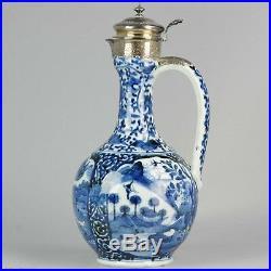 Rare Large Antique 17th Blue & White Arita Jug Silver Mount Japanese Porcelain