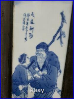 Rare Set of 4 Chinese Porcelain Blue&White Plaque (The Eight Immortals)