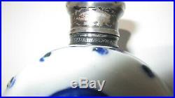 Rare Victorian Sampson Mordan Porcelain Scent Bottle- Blue & White WithSilver Top