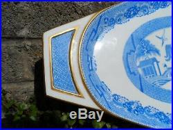 Rare large antique Minton porcelain fish platter Blue & white willow pa c1891