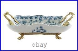 Rectangular Crackle Blue and White Floral Porcelain Tray Brass Ormolu
