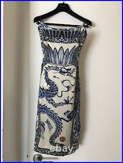 Roberto Cavalli Runway Museum Chinois Dragon Ming Dynasty Porcelain Dress Shortr