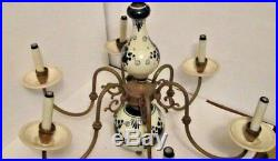 Royal Delft Chandelier Blue And White Porcelain, Six Arms