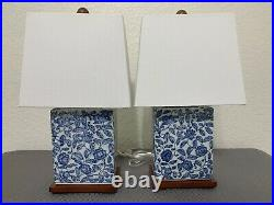 SET Ralph Lauren Lotus Flower Porcelain Blue White Table Lamps with Shades New