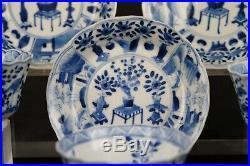 Set Antique Chinese Porcelain Blue & White Cup & Saucers Kangxi marks Landscape