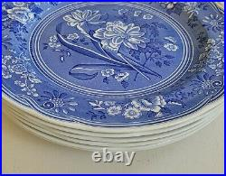 Set of 6 Spode Blue Room Collection China Dinner Plates 10.5 Blue & White