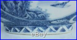 Signed Chinese Painted Blue White Porcelain Moon Flask Vase River Scene