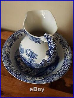 Spode Blue Italian Large WASH BASIN & WATER JUG / PITCHER Blue & White Rare