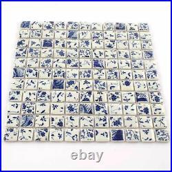 Square Tile Bathroom Wall Mosaic Blue And White Tiles Floral Mosaic Tiles 11PCS