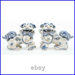 Staffordshire Reproduction Blue And White Lucky Foo Dogs Set of 2