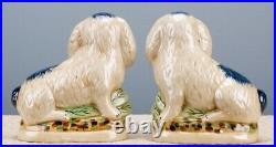 Staffordshire Style Pair of Blue & White Rabbits /Bunnies 8 inch Set of 2