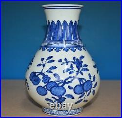 Stunning Antique Chinese Blue And White Porcelain Vase Qianlong Mark Rare G3272