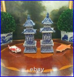 Stunning Pair Blue White Porcelain Chinoiserie Pagoda Ginger Tea Jar Vase 8