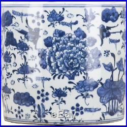 Stunning Porcelain Blue & White Peony Classic Planter, 8.5'' X 9''H