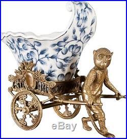 Stunning Porcelain Blue & White Whimsical Monkey Bronze Planter, 11'' X 10''H
