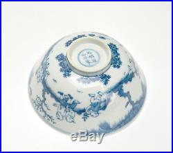 Superb Antique Chinese Ming Style Blue and White Boy Playing Porcelain Bowl -TOP