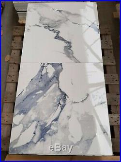 TILES JOBLOT 23 Blue/ white marble effect polished porcelain tiles 60x60cm 20m2