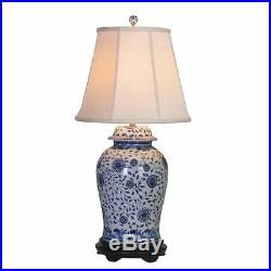 Table Lamp Porcelain Blue White Temple Jar Lamp 35 H 18 W Hand Painted