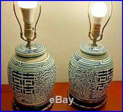Table Lamps Vintage Blue & White Porcelain Ginger Jar Accent Lamps A Pair