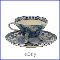 Tea Set with Tray Blue and White Porcelain Transferware Madison Bay Co. Footed