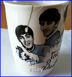 The Beatles 4x 4 Porcelain Cups Blue & White from England 1964 Vintage RARE