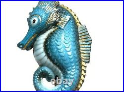 Toshikane Japan Rare Sterling Silver Blue White Porcelain Seahorse Cufflinks