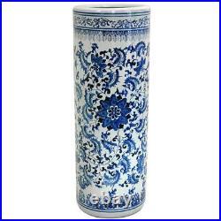 Umbrella Stand White Porcelain Holder Home Antique Design Floral Blue