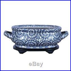 Unique Blue & White Porcelain Foot Bath Basin Chinese Twisted Lotus