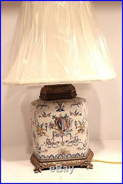 Unique Porcelain European Style Blue & White Table Lamp With Brass Accents 23