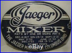 Unusual Antique Porcelain JAEGER MIXER Sign Columbus Ohio 11 Blue & White 1924